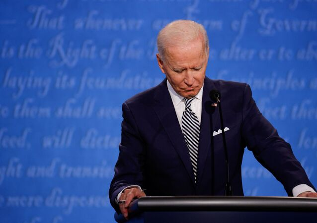 Democratic presidential nominee Joe Biden participates in the first 2020 presidential campaign debate with U.S. President Donald Trump held on the campus of the Cleveland Clinic at Case Western Reserve University in Cleveland, Ohio, U.S., September 29, 2020.