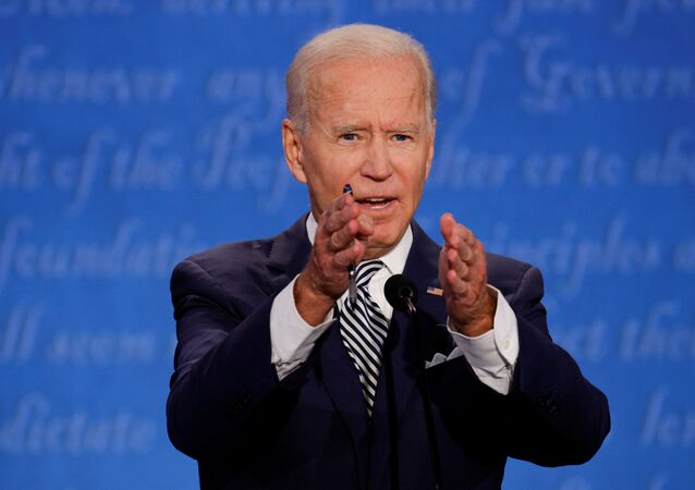 Democratic presidential nominee Joe Biden participates in the first 2020 presidential campaign debate with U.S. President Donald Trump, held on the campus of the Cleveland Clinic at Case Western Reserve University in Cleveland, Ohio, U.S., September 29, 2020.
