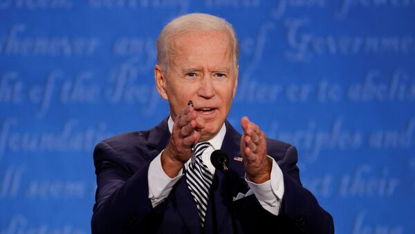 Democratic presidential nominee Joe Biden participates in the first 2020 presidential campaign debate with U.S. President Donald Trump, held on the campus of the Cleveland Clinic at Case Western Reserve University in Cleveland, Ohio, U.S., September 29, 2020. - Sputnik International