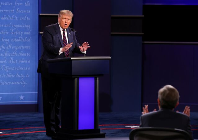 President Donald Trump argues with debate moderator Chris Wallace of Fox News Channel during the first 2020 presidential campaign debate with Democratic presidential nominee Joe Biden held on the campus of the Cleveland Clinic at Case Western Reserve University in Cleveland, Ohio, U.S., September 29, 2020.