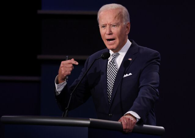 Democratic presidential nominee Joe Biden speaks as he participates in the first 2020 presidential campaign debate with U.S. President Donald Trump held on the campus of the Cleveland Clinic at Case Western Reserve University in Cleveland, Ohio, U.S., September 29, 2020