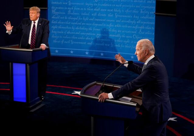 U.S. President Donald Trump and Democratic presidential nominee Joe Biden participate in their first 2020 presidential campaign debate held on the campus of the Cleveland Clinic at Case Western Reserve University in Cleveland, Ohio, U.S., September 29, 2020