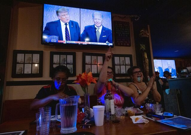 Women for Trump cheer for the president at a Debate Watch Party during the Presidential debate between U.S. President Donald Trump and Democratic Presidential candidate Joe Biden, in the City of Industry, California, U.S., September 29, 2020