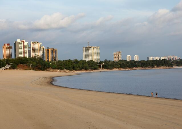 A view of the Ponta Negra beach along the Amazon river, that was closed amid concerns about the spread of the coronavirus disease (COVID-19) in Manaus, Brazil, September 25, 2020.
