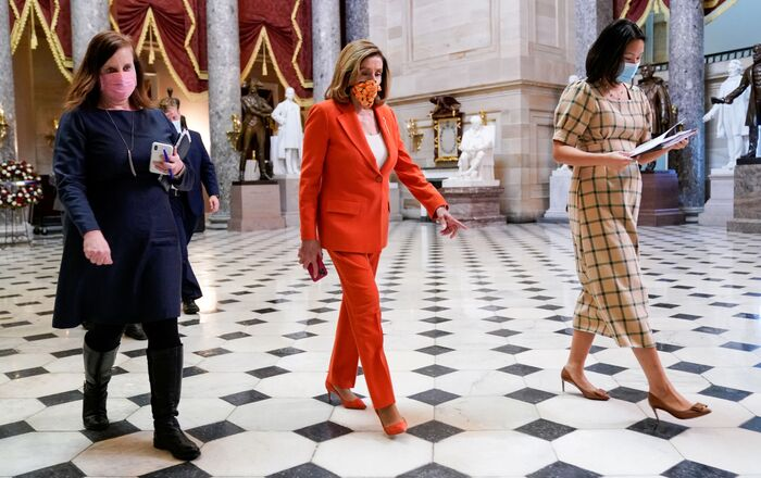 U.S. House Speaker Nancy Pelosi (D-CA) walks though the U.S. Capitol in Washington, U.S. September 30, 2020.