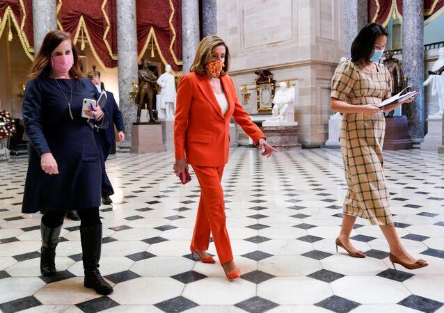 U.S. House Speaker Nancy Pelosi (D-CA) walks though the U.S. Capitol in Washington, U.S. September 30, 2020.