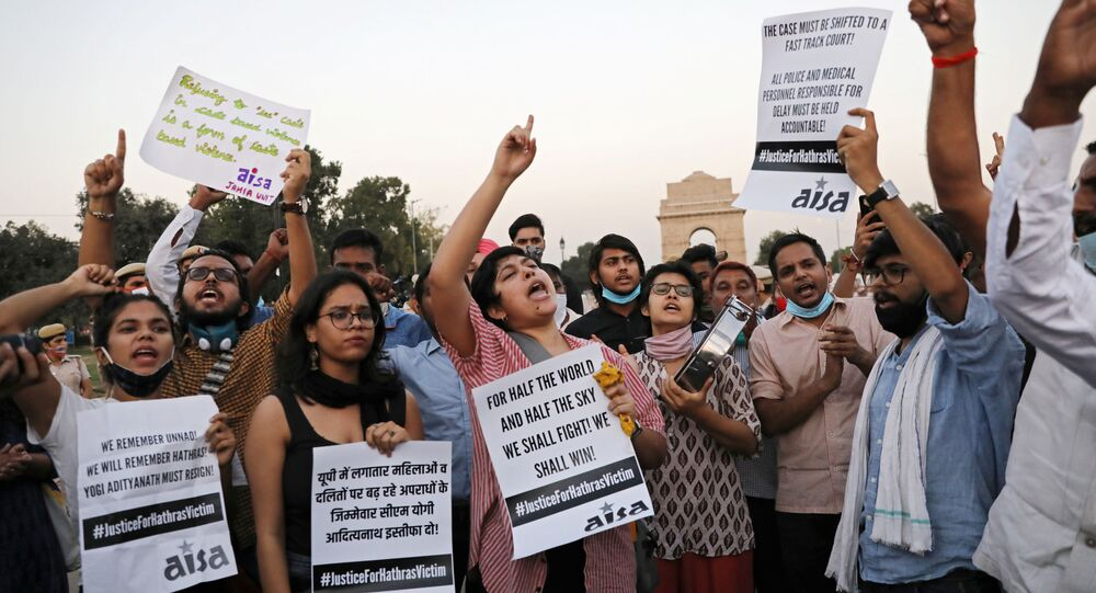 Demonstrators protest after the death of a rape victim, on Rajpath near India Gate, in New Delhi, India, September 30, 2020