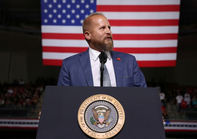 Trump 2020 campaign manager Brad Parscale addresses the crowd before U.S. President Donald Trump rallies with supporters in Manchester, New Hampshire, U.S. August 15, 2019