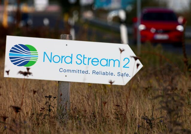 A road sign directs traffic towards the Nord Stream 2 gas line landfall facility entrance in Lubmin, Germany, September 10, 2020