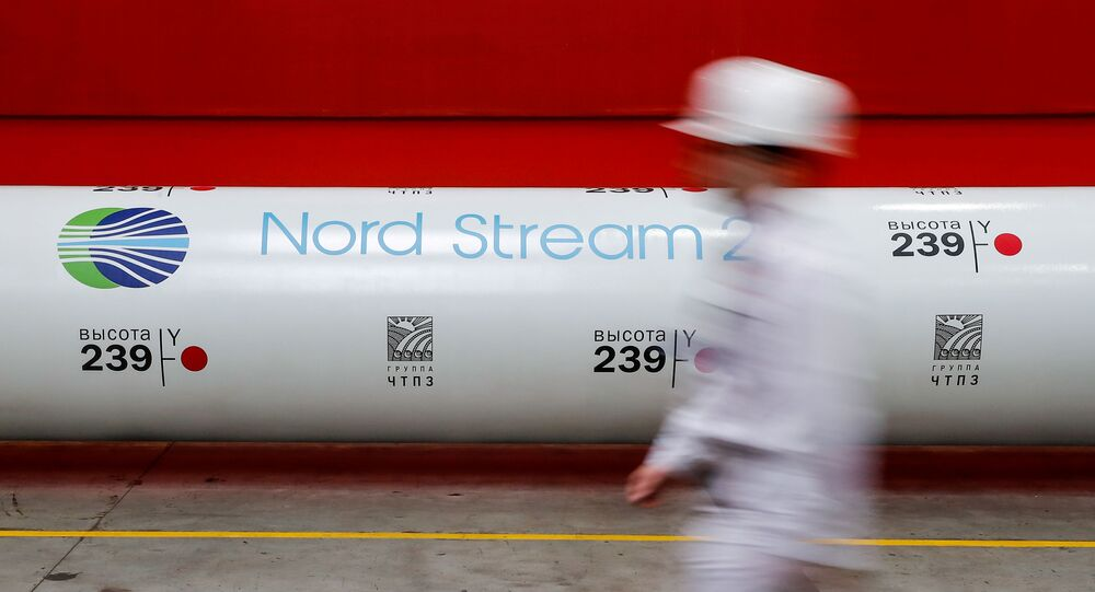 The logo of the Nord Stream 2 gas pipeline project is seen on a large diameter pipe at Chelyabinsk Pipe Rolling Plant owned by ChelPipe Group in Chelyabinsk, Russia February 26, 2020. Picture taken February 26, 2020