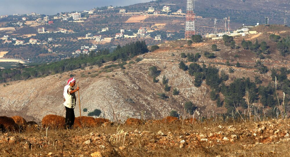A picture taken on August 26, 2020 on the Lebanese side of the border with Israel, near an Israeli military post