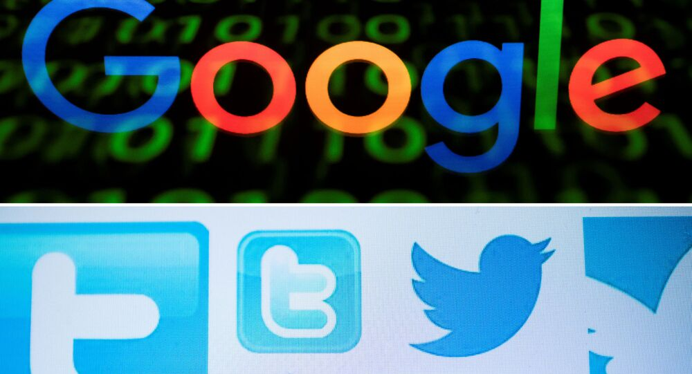 These three photos show from top: the Google logo displayed on a screen and reflected on a tablet in Paris, France, April 29, 2018; Twitter logos on a computer screen in Beijing, China, March 23, 2018; and the logo of social the network Facebook displayed on a screen and reflected on a tablet in Paris, France, April 28, 2018. - US President Donald Trump stepped up his criticism of internet firms Tuesday, August 28, 2018