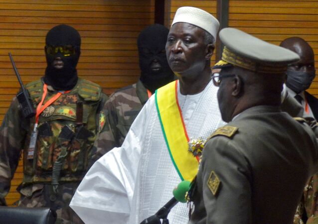 The new interim president of Mali Bah Ndaw is sworn in during the Inauguration ceremony in Bamako, Mali September 25, 2020.