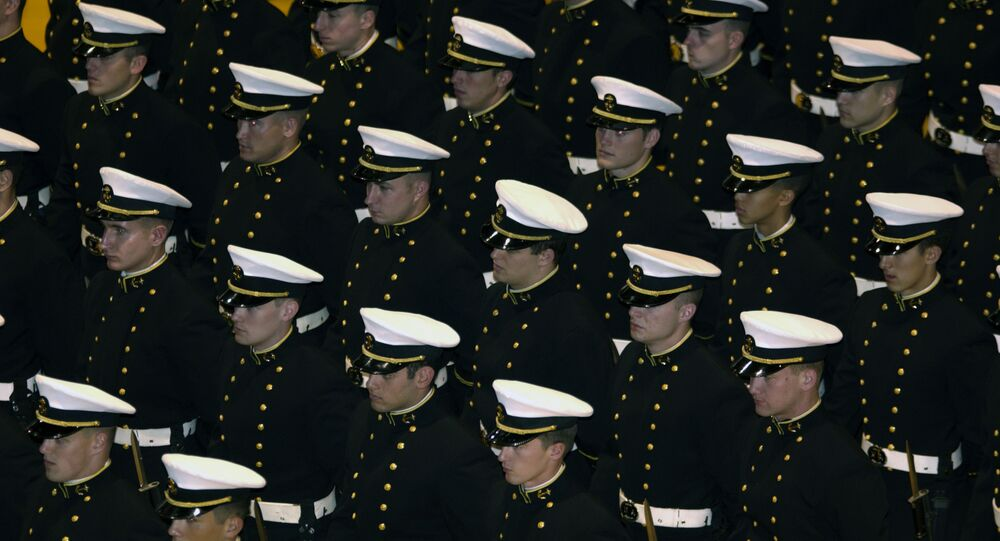 U.S. Naval Academy, Md. (Nov. 21, 2003) -- U.S. Naval Academy Midshipmen stand at parade-rest during a ceremony in Alumni Hall honoring distinguished graduates. U.S. Navy photo by Photographer's Mate 2nd Class Damon J. Moritz