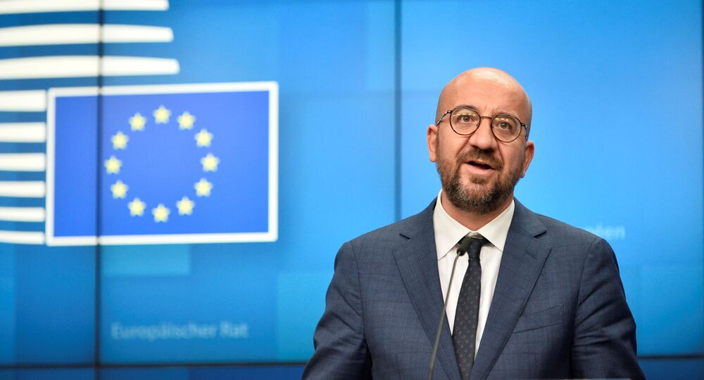 European Council President Charles Michel holds a news conference during the second face-to-face EU summit since the coronavirus disease (COVID-19) outbreak, in Brussels,Belgium October 2, 2020.