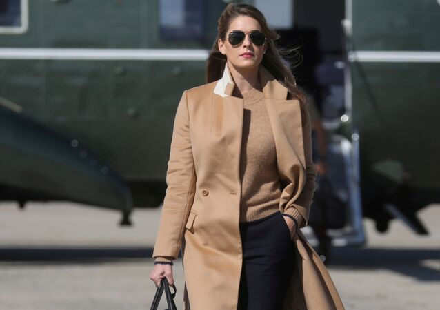 Hope Hicks, an adviser to U.S. President Donald Trump walks to Air Force One to depart Washington with the president and other staff on campaign travel to Minnesota from Joint Base Andrews, Maryland, U.S., September 30, 2020.