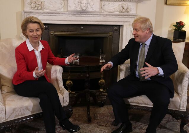 Britain's Prime Minister Boris Johnson talks to European Commission President Ursula von der Leyen inside Downing Street in London, 8 January 2020