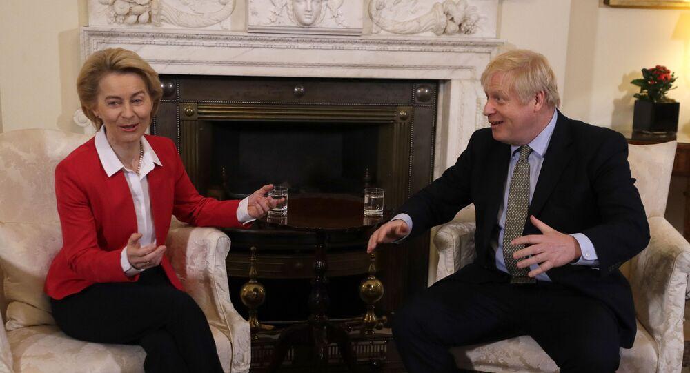 Britain's Prime Minister Boris Johnson talks to European Commission President Ursula von der Leyen inside Downing Street in London, 8 January 2020