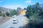 Screenshot of video showing alleged Azerbaijani attack on bridge connecting Armenia proper to the breakaway region of Nagorno-Karabakh.
