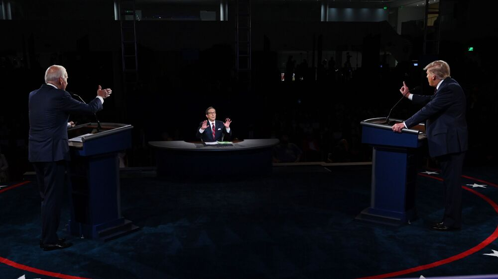 US President Donald Trump (R) and presidential candidate for the Democrats, Joe Biden, take part in the first presidential debate at Case Western Reserve University's Cleveland Clinic in Cleveland, Ohio, on 29 September 2020.
