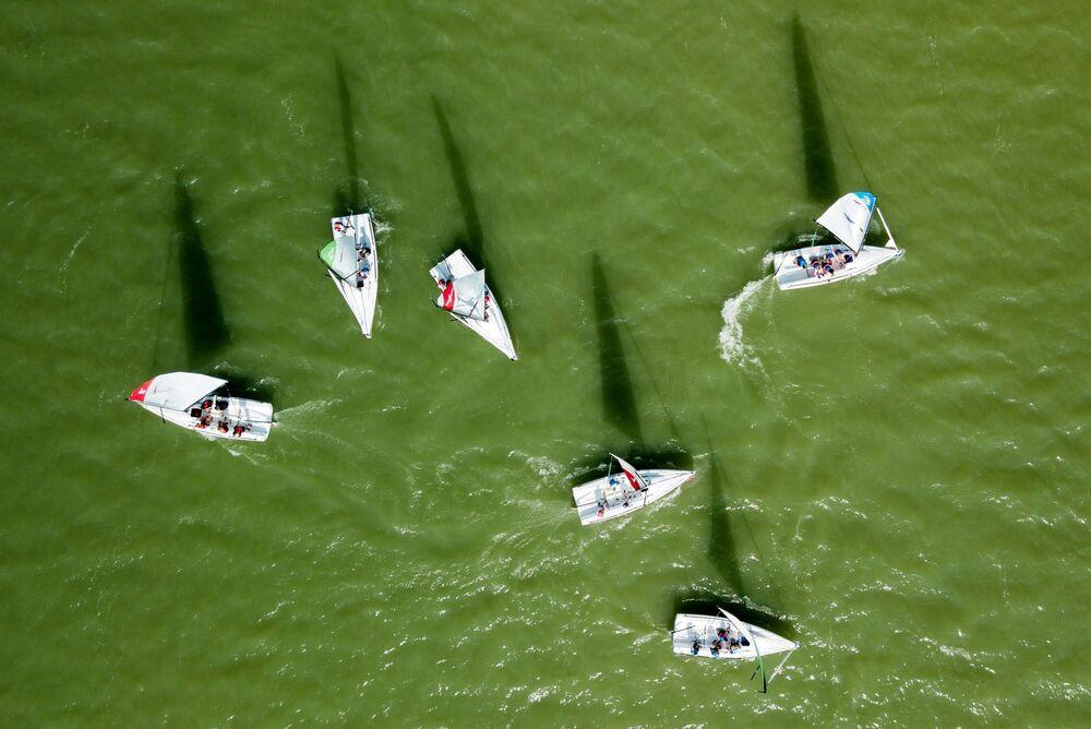 A sailing race in Lake Abrau in Russia's Krasnodar territory.