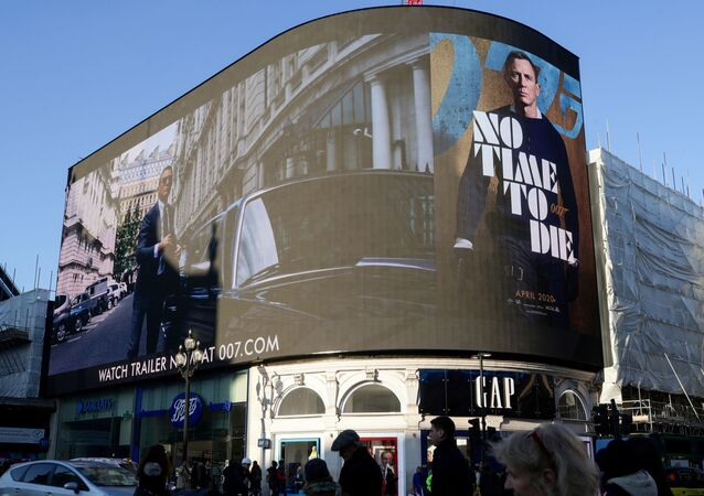 A film trailer for the 25th instalment in the James Bond series entitled No Time to Die is displayed at Piccadilly Circus in London, December 4, 2019.