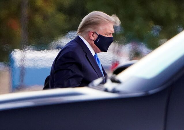 US President Donald Trump arrives at Walter Reed National Military Medical Center by helicopter after the White House announced that he will be working from the presidential offices at Walter Reed for the next few days after testing positive for the coronavirus disease (COVID-19), in Bethesda, Maryland, US, October 2, 2020
