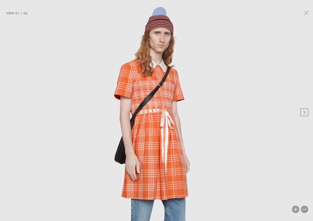 Tartan cotton long smock shirt