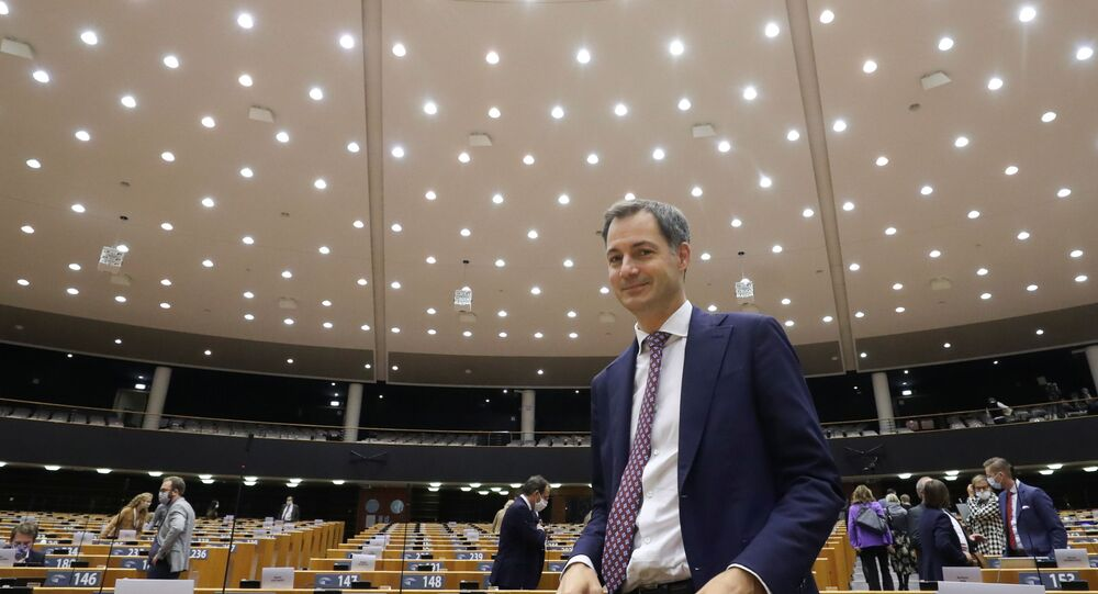 Belgium's new Prime Minister Alexander De Croo is seen at the end of a plenary session of the Belgian Parliament, taking place at the European Parliament to respect the coronavirus disease (COVID-19) safety rules, in Brussels, Belgium October 2, 2020.