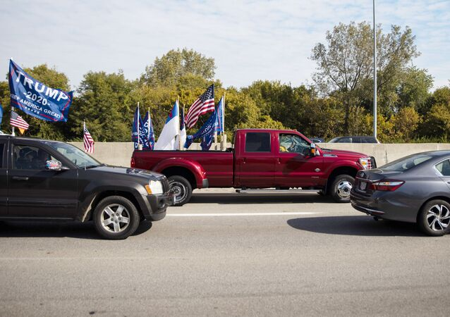Supporters of U.S. President Donald Trump take part in a car parade in Columbus, Ohio, U.S., October 3, 2020.