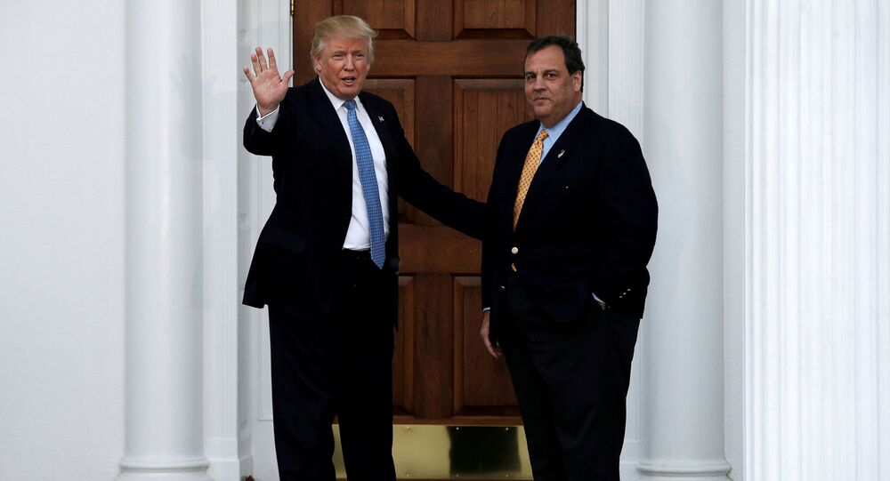 U.S. President-elect Donald Trump stands with New Jersey Governor Chris Christie before their meeting at Trump National Golf Club in Bedminster, New Jersey, U.S., November 20, 2016.