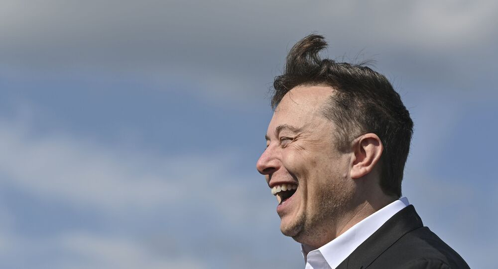 Technology entrepreneur Elon Musk laughs as he visits the Tesla Gigafactory construction site in Gruenheide near Berlin, Germany, 3 September 2020.