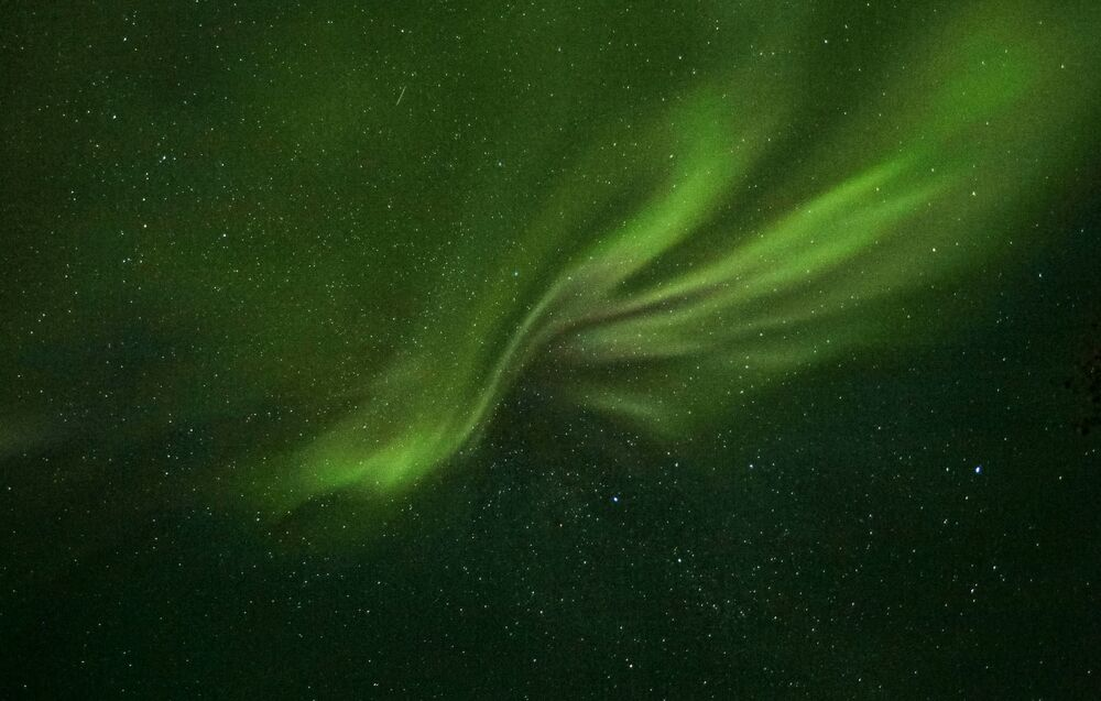 Northern lights in the vicinity of the Ura River in the Murmansk region.