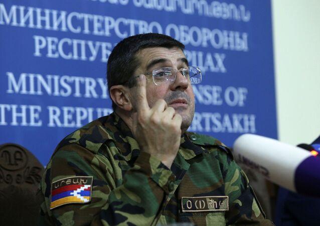 Arayik Harutyunyan, leader of the region of Nagorno-Karabakh, attends a news conference in Stepanakert, the capital of the breakaway Nagorno-Karabakh region, September 27, 2020.