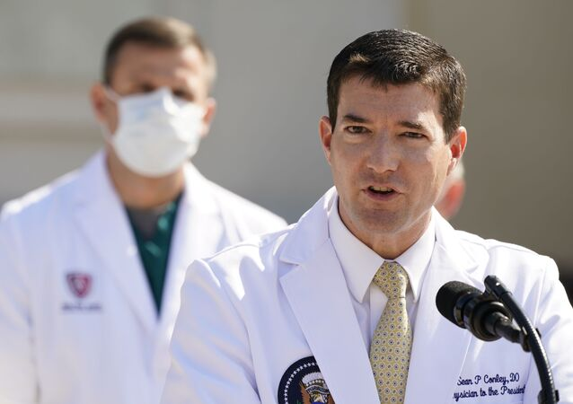 Dr. Sean Conley, physician to President Donald Trump, briefs reporters at Walter Reed National Military Medical Center in Bethesda, Md., Sunday, Oct. 4, 2020