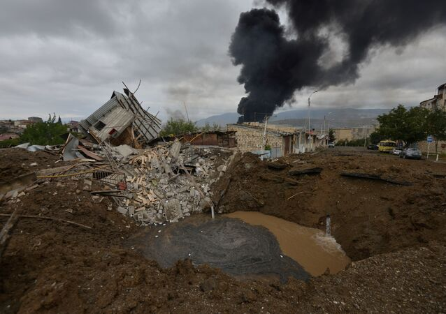 Aftermath of recent shelling during a military conflict over the breakaway region of Nagorno-Karabakh in Stepanakert October 4, 2020.