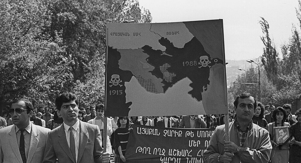 Rally in Yerevan, Armenia in April 1988 dedicated to the Sumgait pogrom of February 1988.