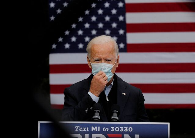 Democratic U.S. presidential nominee Joe Biden speaks about the economy and the coronavirus disease (COVID-19) pandemic during a campaign stop at UFCW (United Food and Commercial Workers) Local 951 in Grand Rapids, Michigan, U.S., October 2, 2020.