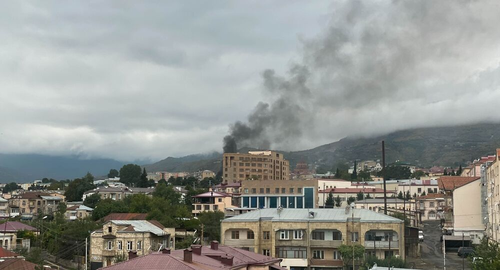 Smoke rises after the recent shelling, in Stepanakert, the self-proclaimed Republic of Nagorno-Karabakh. The situation in Nagorno-Karabakh escalated on September 27, when Yerevan and Baku accused each other of provoking military hostilities.