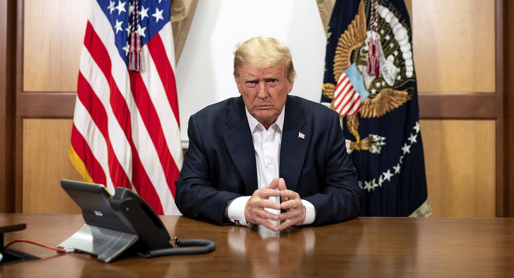 In this image provided by the White House, President Donald Trump listens during a phone call with Vice President Mike Pence, Secretary of State Mike Pompeo, and Chairman of the Joint Chiefs of Staff Gen. Mark Milley, Sunday, Oct. 4, 2020