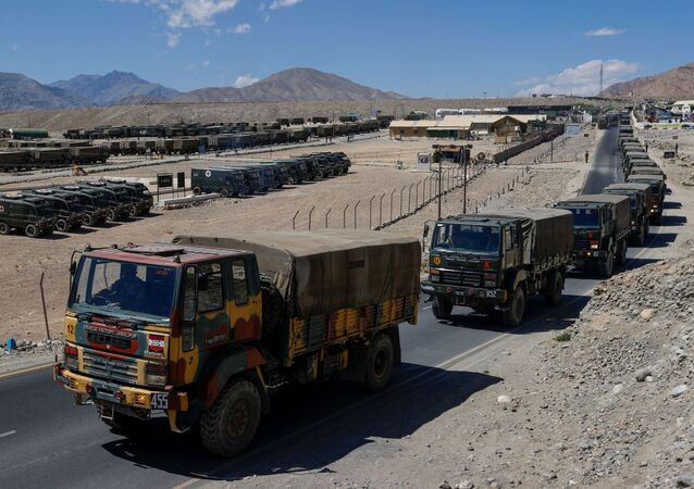 Military trucks carrying supplies move towards forward areas in the Ladakh region, September 15, 2020