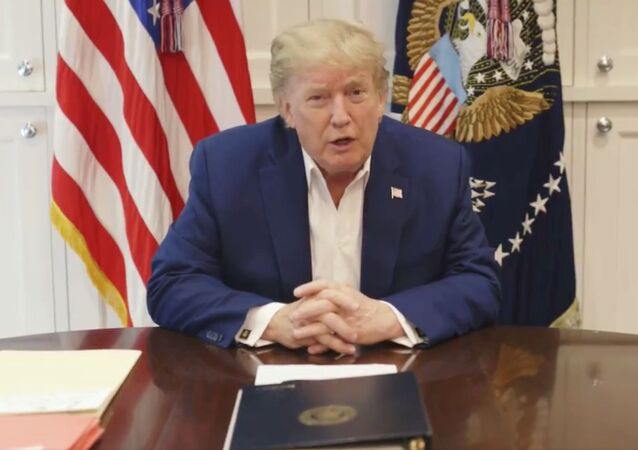 U.S. President Donald Trump, who is being treated for the coronavirus disease (COVID-19) in a military hospital outside Washington, speaks from his hospital room