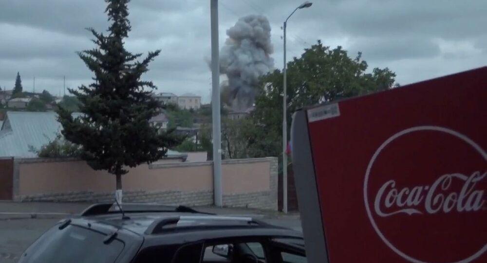 Shelling of Stepanakert, Nagorno-Karabakh, 5 October 2020.