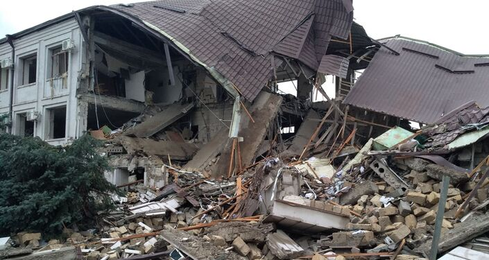 A damaged building hit by the recent shelling is seen in Stepanakert, the self-proclaimed Republic of Nagorno-Karabakh.