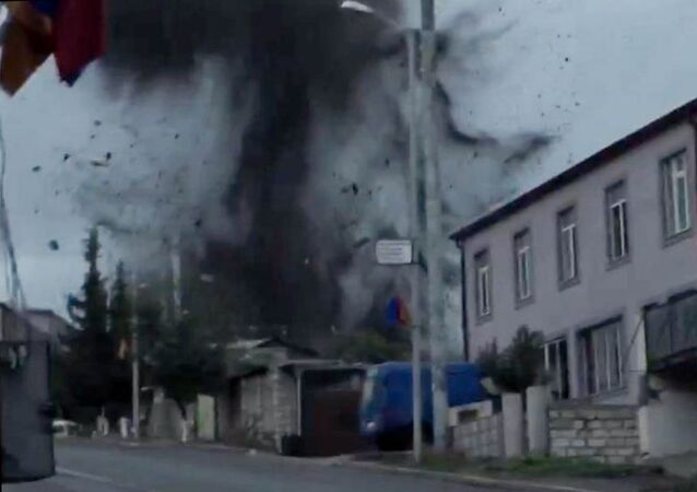 In this handout video grab released by information center Artsakh, a view shows the shelling in Stepanakert, the self-proclaimed Republic of Nagorno-Karabakh.