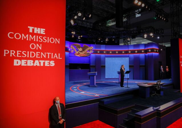 Janet Brown, the Executive Director of the Commission on Presidential Debates, addresses the audience at the start of the first 2020 presidential campaign debate between U.S. President Donald Trump and Democratic presidential nominee Joe Biden, held on the campus of the Cleveland Clinic at Case Western Reserve University in Cleveland, Ohio, U.S., September 29, 2020.