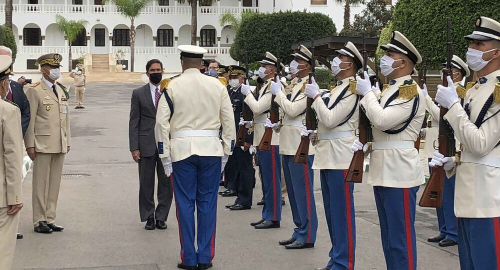 Defense Secretary Dr. Mark T. Esper receives a salute upon his arrival at the Moroccan Ministry of Defense in Rabat, Morocco.