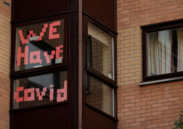A sign is displayed in the window of a student accommodation building following the outbreak of the coronavirus disease (COVID-19) in Manchester, Britain, October 5, 2020.