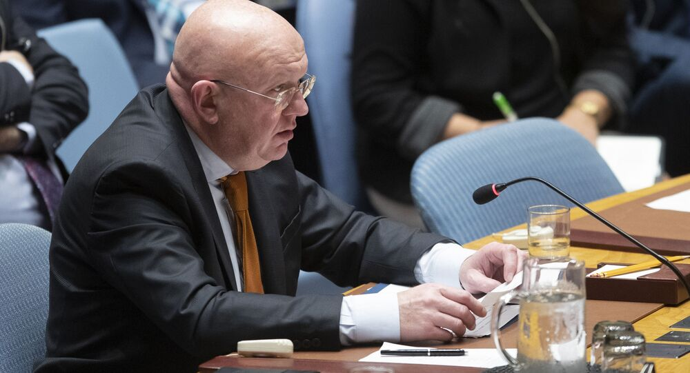 Russian Ambassador to the United Nations Vassily Nebenzia speaks during a Security Council meeting on the situation in Syria, Thursday, Oct. 24, 2019 at United Nations headquarters.