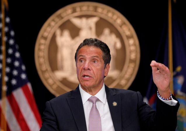 New York Governor Andrew Cuomo speaks during a daily briefing following the outbreak of the coronavirus disease (COVID-19) in Manhattan in New York City, New York, U.S., July 13, 2020